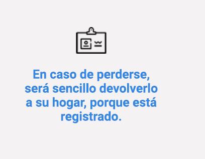 En caso de perderse, será sencillo devolverlo a su hogar, porque está registrado.